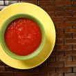 Tomato soup in colorful dish - Zdjcie stockowe
