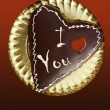 Chocolate heart shape cake valentine day — Stock Photo