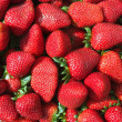 Red strawberries pattern in maket box - Stock Photo