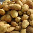 Potatoes on market texture background - Stockfoto