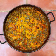 Paella rice recipe Mediterranean Spain round pan - Stock Photo