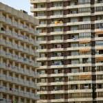 Old condominium facades texture in Spain — Stock Photo