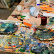 Artist studio painted dirty table — Stock Photo