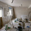 Messy room during contruction improvement — Stock Photo
