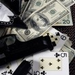 Game guns and dollars, clasic mafia gangster still — Stock Photo