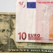 Dolar versus euro note, finance metaphor - Stock Photo