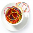 Coffee metaphor with color rubber bands, office — Foto de Stock