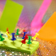 Adhesive color notes with colorful pin — Stock Photo