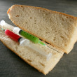 Two syringe in a bread sandwich — Stock Photo