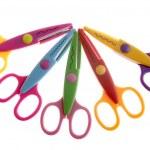 Little student colorful plastic scissors — Stockfoto #5503327