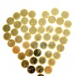 Euro currency coins in heart shape — Stock Photo