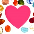 Candy Valentines heart with glass stones around — Stock Photo