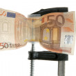 Euro bank note under pressure - Stock Photo