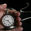 Old silver pocket watch clock on human hand — Stock Photo
