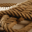Old brown golden rough rope macro detail — Stock Photo