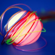 Glowing sphere with colorful wires such a wired communication — Stock Photo