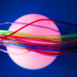 Stock Photo: Glowing sphere with colorful wires such wired communication