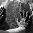 Children dirty hands, painting game — Stock Photo