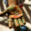 Children artist hands painting colorful — Stockfoto