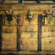 Royalty-Free Stock Photo: Old wooden chest, trunk in golden color