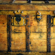 Old wooden chest, trunk in golden color — ストック写真