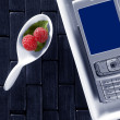 Technologic menu with spoon - Stock Photo