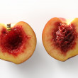 Bloody inside, half cut peach — Stock Photo