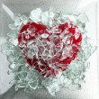 Broken glass red heart — Stock Photo