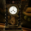 Foto Stock: Vintage, antique old clock, oil canvas background