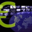 Euro Business corporate image, multiple screen — Stock Photo