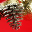 Stock Photo: Christmas decoration, Xtmas pine tree, red background