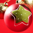 Christmas decoration, Xtmas tree, red background — Stock Photo