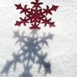 Christmas red star in a snow day — Stock Photo