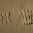 Royalty-Free Stock Photo: Boot shoe footprint over beach sand
