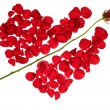 Cupid arrow in a red rose petals heart shape — Stock Photo #5504213