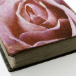 Royalty-Free Stock Photo: Rose printed on the cover of an old book