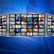 Global 3d screen television multimedia tech concept — Stock Photo