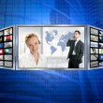 Three screen monitor, business world tech — Stock Photo