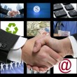 Stockfoto: Tech tv video communication screen handshake