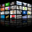 Big Panel of TV screen internet business - Stock Photo