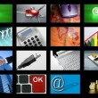 big panel of tv screen internet business — Stock Photo