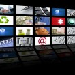 图库照片: Video tv screen technology and communications