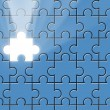 Blue puzzle with missing piece and light beam - Stock Photo