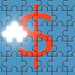 Stock Photo: Dollar sign on puzzle with missing piece