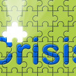 Crisis text written on a puzzle background - Stok fotoğraf
