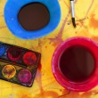 Children messy dirty student watercolor table - Stock Photo