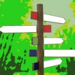 Crossroad wooden directional arrow signs — Stock Photo