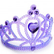 Children purple blue crown with plastic gem — Stock Photo