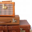 Aged old luggage leather vintage bags — Stock Photo