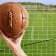 Stock Photo: Football ball in hand net soccer goal